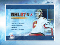 NHL 07 partially Spanish main menu
